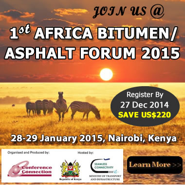 1st Africa Bitumen/Asphalt Forum '15, Nairobi, Kenya, 28-29 Jan '15