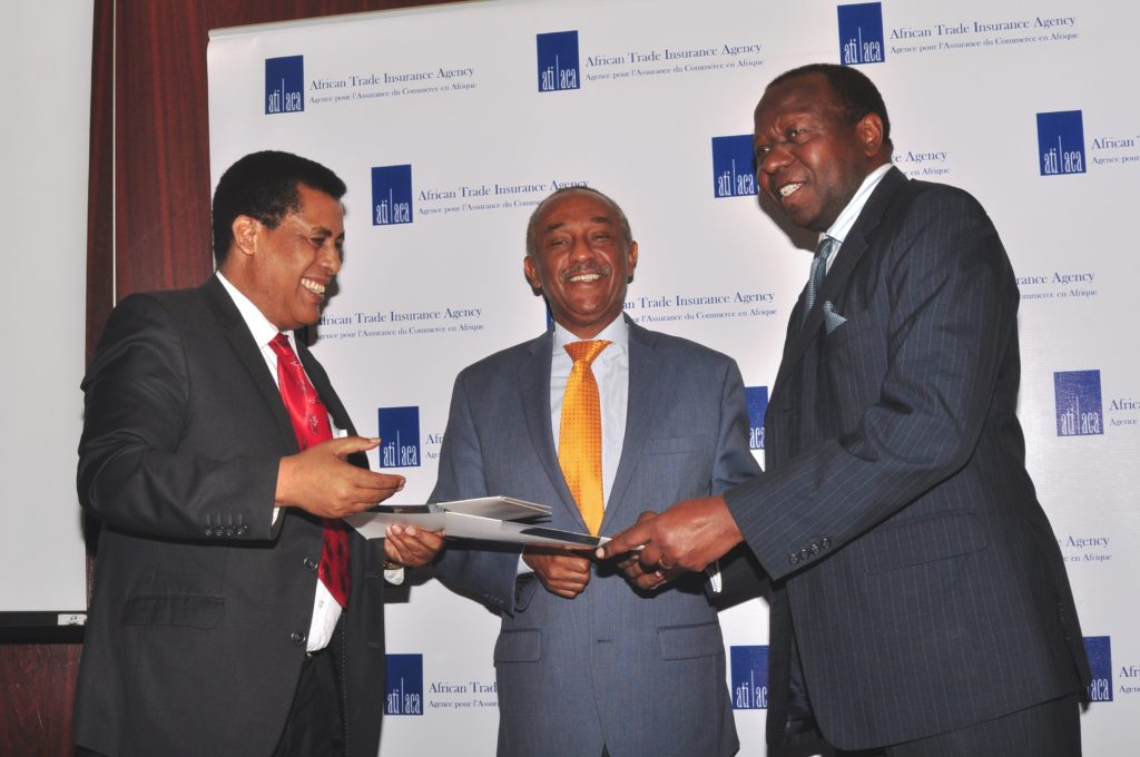(L-R) Ethiopian Ambassador to Kenya, Dina Mufti; Gabriel Negatu Regional Director AfDB; George Otieno, CEO of ATI